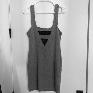 Motel Gray Sleeveless Dress with Black Lace Insert